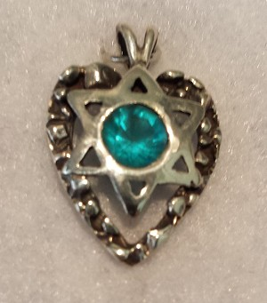 Heart with Star of David, Light Blue Stone