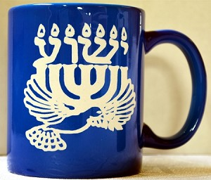 Mug, Yeshua, Menorah, Dove, Blue
