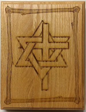 Magen David and Cross, Plaque