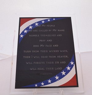 Chronicles 7:14, Patriotic Plaque, Vertical